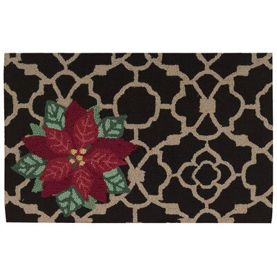 Christmas Hand Hooked Black Area Rug