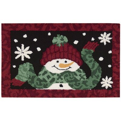 Christmas Hand Hooked Black/Red Area Rug