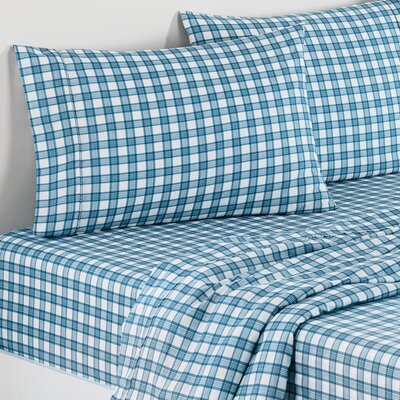 Norfolk Plaid Polyester Sheet Set Color: Blue, Size: Full