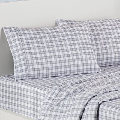 Norfolk Plaid Polyester Sheet Set Size: Full, Color: Light Gray
