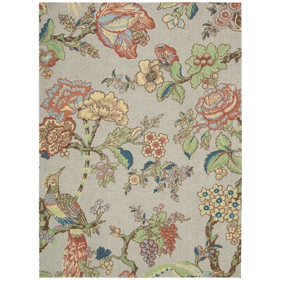 Global Awakening Casablanca Rose Gray/Brown Area Rug Rug Size: Rectangle 5 x 7