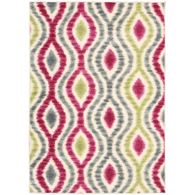 Aura of Flora Optical Delights Jazzberry Area Rug Rug Size: Rectangle 79 x 1010
