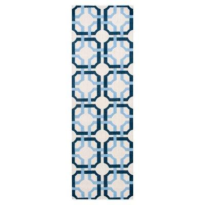 Artisanal Delight Groovy Grille Sky Area Rug Rug Size: Runner 26 x 8