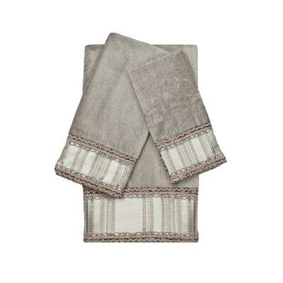 Norwood Stripe Decorative Embellished 3 Piece Towel Set