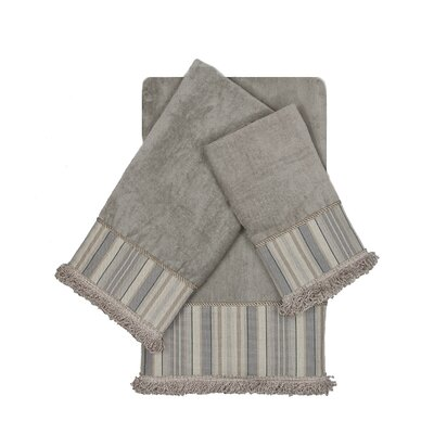 Aberdeen Stripe Decorative Embellished 3 Piece Towel Set