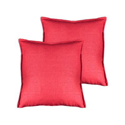 Lombard Reversible Decorative Linen Throw Pillow Color: Red