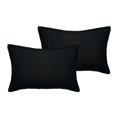 Lombard Reversible Decorative Linen Boudoir Pillow Color: Black