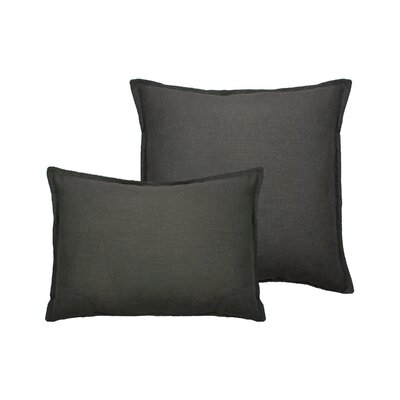 Lombard 2 Piece Reversible Linen Pillow Set Color: Graphite