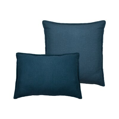 Lombard 2 Piece Reversible Linen Pillow Set Color: Blue