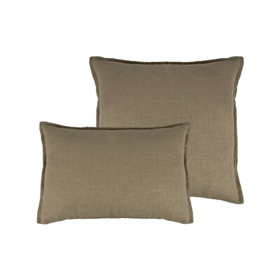 Lombard 2 Piece Reversible Linen Pillow Set Color: Ecru