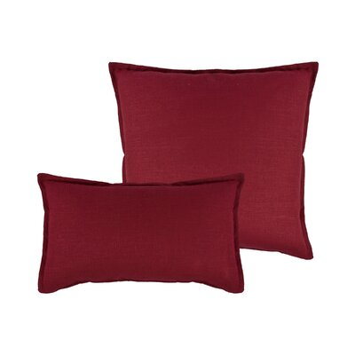 Lombard 2 Piece Reversible Linen Pillow Set Color: Red