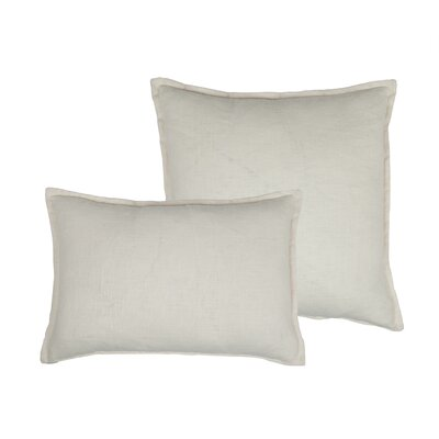 Lombard 2 Piece Reversible Linen Pillow Set Color: Off-white