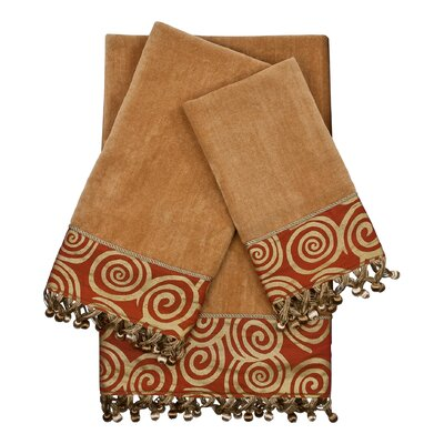 Swirley Embellished 3 Piece Towel Set