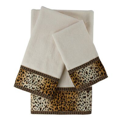 Panthera Embellished 3 Piece Towel Set Color: White