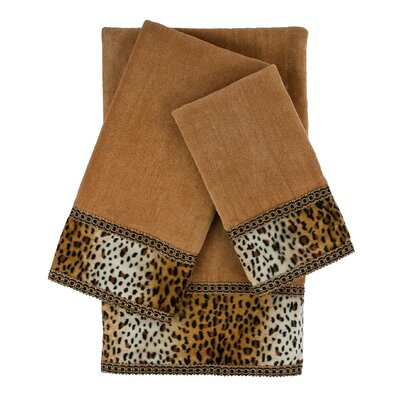 Panthera Embellished 3 Piece Towel Set Color: Brown