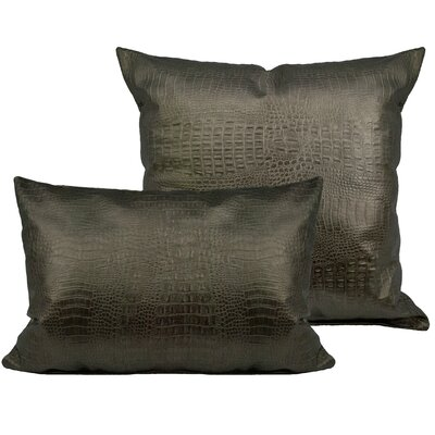 Alligator 2 Piece Outdoor Pillow Set Color: Silver Bronze