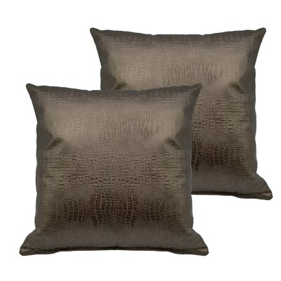 Alligator Outdoor Throw Pillow Color: Gold Bronze