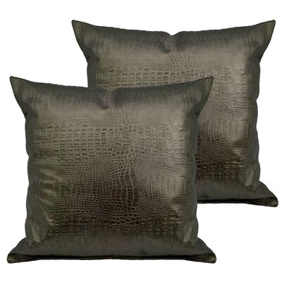 Alligator Outdoor Throw Pillow Color: Silver Bronze