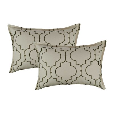 Hampton Embroidered Reversible Decorative Cotton Boudoir Pillow Color: Olive Green