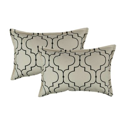 Hampton Embroidered Reversible Decorative Cotton Boudoir Pillow Color: Black