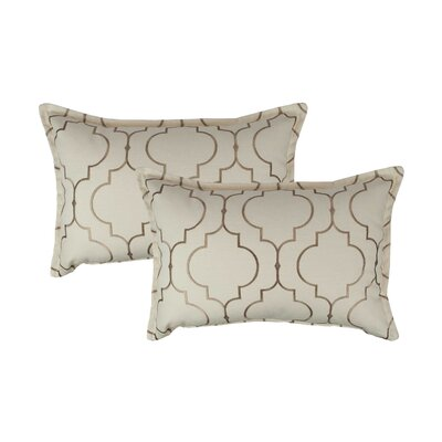 Hampton Embroidered Reversible Decorative Cotton Boudoir Pillow Color: Taupe