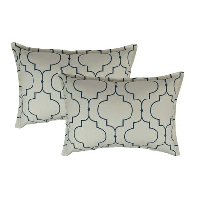 Hampton Embroidered Reversible Decorative Cotton Boudoir Pillow Color: Light Blue