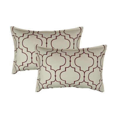 Hampton Embroidered Reversible Decorative Cotton Boudoir Pillow Color: Ruby Red