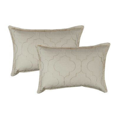 Hampton Embroidered Reversible Decorative Cotton Boudoir Pillow Color: Ivory