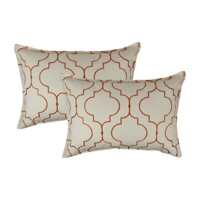 Hampton Embroidered Reversible Decorative Cotton Boudoir Pillow Color: Orange