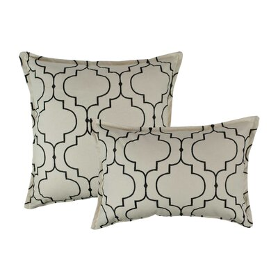 Hampton 2 Piece Embroidered Reversible Combo Decorative Cotton Pillow Set Color: Black