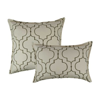 Hampton 2 Piece Embroidered Reversible Combo Decorative Cotton Pillow Set Color: Olive Green