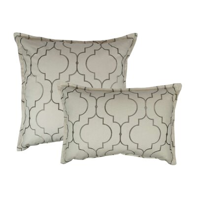 Hampton 2 Piece Embroidered Reversible Combo Decorative Cotton Pillow Set Color: Silver Gray