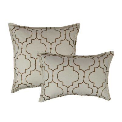 Hampton 2 Piece Embroidered Reversible Combo Decorative Cotton Pillow Set Color: Dark Gold