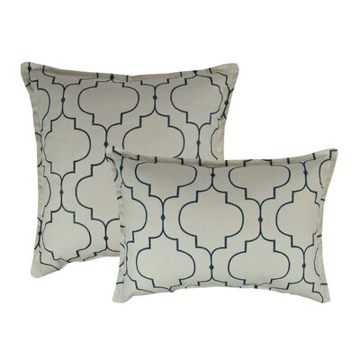 Hampton 2 Piece Embroidered Reversible Combo Decorative Cotton Pillow Set Color: Light Blue
