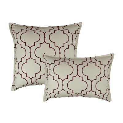 Hampton 2 Piece Embroidered Reversible Combo Decorative Cotton Pillow Set Color: Ruby Red