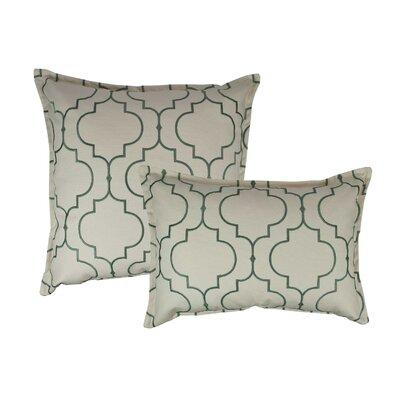 Hampton 2 Piece Embroidered Reversible Combo Decorative Cotton Pillow Set Color: Green