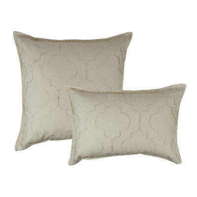 Hampton 2 Piece Embroidered Reversible Combo Decorative Cotton Pillow Set Color: Ivory