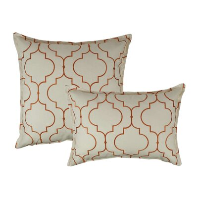 Hampton 2 Piece Embroidered Reversible Combo Decorative Cotton Pillow Set Color: Orange