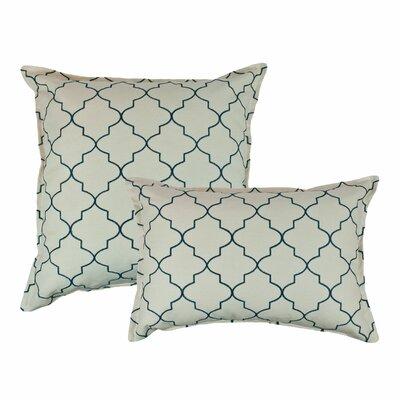 2 Piece Reversible Decorative Cotton Pillow Set Color: Teal