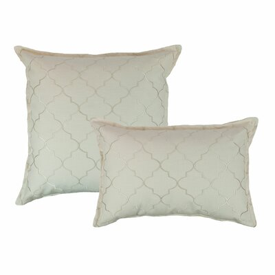 2 Piece Reversible Decorative Cotton Pillow Set Color: Ivory