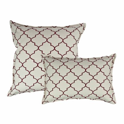 2 Piece Reversible Decorative Cotton Pillow Set Color: Ruby Red