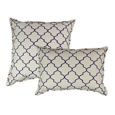 2 Piece Reversible Decorative Cotton Pillow Set Color: Purple