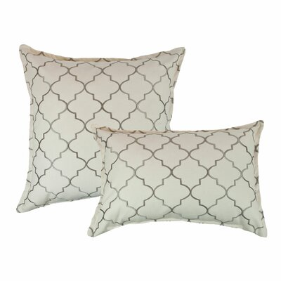 2 Piece Reversible Decorative Cotton Pillow Set Color: Silver Gray