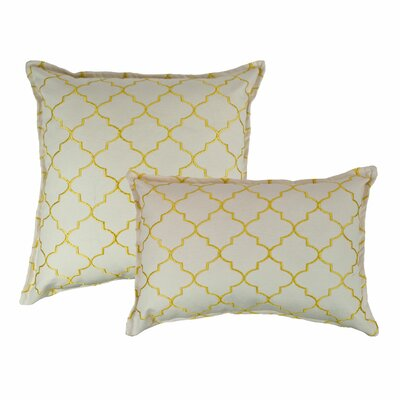 2 Piece Reversible Decorative Cotton Pillow Set Color: Yellow