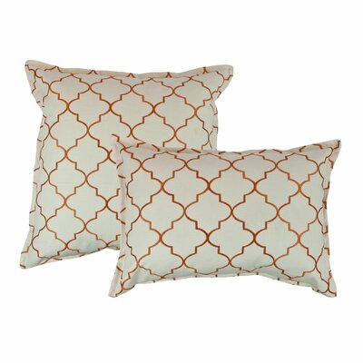 2 Piece Reversible Decorative Cotton Pillow Set Color: Orange