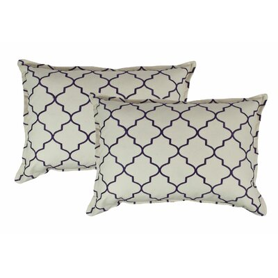 Reversible Boudoir Decorative Cotton Lumbar Pillow Color: Purple
