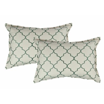 Reversible Boudoir Decorative Cotton Lumbar Pillow Color: Green
