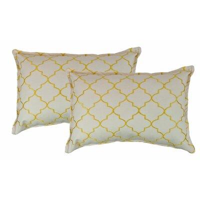 Reversible Boudoir Decorative Cotton Lumbar Pillow Color: Yellow
