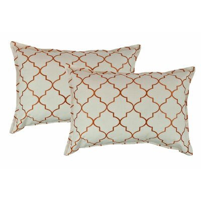 Reversible Boudoir Decorative Cotton Lumbar Pillow Color: Orange