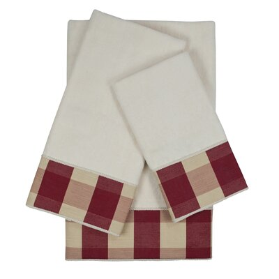 Holbrook Checkered Cord 3 Piece Towel Set Color: White/Red